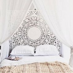 """i so love this - the headboard and the gauzy curtains around the bed.(@jamesmichelle) on Instagram: """"raise your hand if you're craving that midday snooze """""""