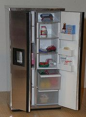 Dollhouse miniature side by side stainless fridge.