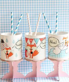 "Becher "" Ahoi Mr. Fuchs"" // Cups by cherryP via DaWanda.com Perfect Party, Kindergarten, Party Ideas, Etsy, Box, Tableware, Gifts, Gifts For Birthday, Father's Day"