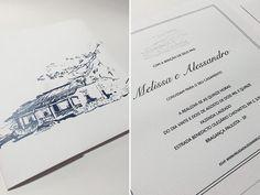 Convite de casamento na fazenda com ilustração em azul marinho ( Convite: Dom Bosco )