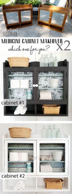 Check out this thrifted medicine cabinet makeover by Larissa of Prodigal Pieces. This pair looks like night and day compared to their original look. Easy DIY steps to recreate your home decor at prodigalpieces.com #prodigalpieces #homedecor #farmhouse #diy // Please Follow/Save/Repin