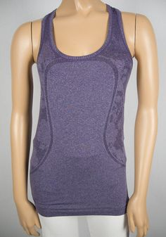 LULULEMON Purple Top 4 S X Static Breathable Mesh Pilates Semi Sheer Floral Cut