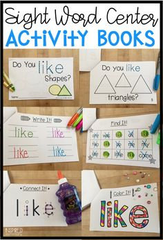 Sight Word Activity Books - This fun and effective sight word center helps your students practice reading, writing and recognizing sight words! Sight word practice is interactive with these and students read sight words in context. First Grade Activities, Sight Word Activities, Phonics Activities, Kindergarten Activities, Book Activities, Kindergarten Classroom, Teaching Resources, Teaching Ideas, Learning Sight Words