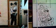 Бразильский уличный художник Butcher Billy создает пародии на уже ставшие культовыми работы британского мастера стрит-арта Бэнкси (кем бы он ни был). Впрочем, персонажи Билли, которые на его рисунках замещают героев сюжетов Бэнкси, являются не менее известными лицами. Правда, из мира мультипликации.