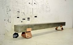 Bench in mild steel with copper feet by Laurie Wiid van Heerden and artwork by Antang Tshikare for Southern Guild (South Africa)