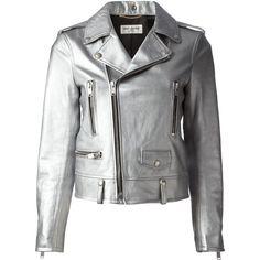 Saint Laurent Biker Jacket (£1,600) ❤ liked on Polyvore featuring outerwear, jackets, coats & jackets, metallic, leather moto jacket, real leather jacket, 100 leather jacket, metallic biker jacket and genuine leather jacket