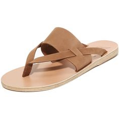 Ancient Greek Sandals Zenobia Thong Sandals ($215) ❤ liked on Polyvore featuring shoes and sandals