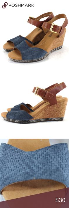 a3202bd1ab16 Clarks Collection Helio Jet Wedge Sandals Blue Clarks Collection