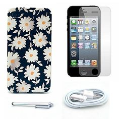 mooie daisy patroon harde case en screen protector en stylus en kabel voor iPhone 4 / 4s – EUR € 5.51