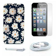 mooie daisy patroon harde case en screen protector en stylus en kabel voor iPhone 4 / 4s – EUR € 5.51