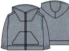 Выкройка детской куртки ветровки без подкладки, возраст 2, 4, 6, 8 лет