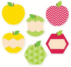 "Bring modern flair to bulletin boards, rooms, hallways, and common areas with these bright colors and trendy patterns! These HexaFun Apples 10"" Designer Cut-Outs are versatile and perfect for crafting projects, game pieces, writing notes or invitations, memory games, door or cubby tags, and more!"