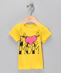 Yellow 'I Love Mom' Lap-Neck Tee from Micro Me on #zulily!