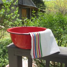 My Vesties Wish List Item - Large Red Enamelware Basin/ Wash Tub  Rustic Decor by SimplySuzula