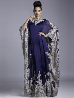 Robe de Soirée Mousseline Col montant Avec Manches longues