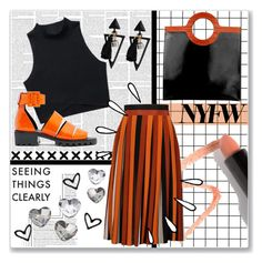 """""""black and orange    NYFW"""" by astridorbiter ❤ liked on Polyvore featuring Lara, Miista, Lapcos, Givenchy and Old Navy"""