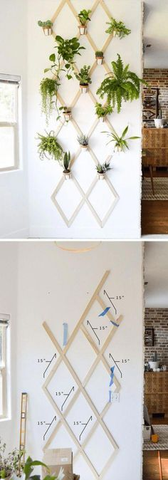 Best DIY Indoor Plant Wall Projects & Ideas For 2020 Looking for a diy indoor plant wall ideas? These are creative guide will help you step by step building an indoor plant wall. - DIY Wood and Leather Trellis Plant Wall Plant Wall Diy, Indoor Plant Wall, Hanging Plant Wall, Diy Hanging, Indoor Plants, Indoor Gardening, Diy Wand, Cool Diy, Vertical Vegetable Gardens