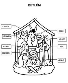 Manger Scene Coloring Page - AZ Coloring Pages Page Az, Pintura Country, Activity Games, Christmas Activities, Holidays And Events, Coloring Pages, Dots, Wallpaper, School Ideas