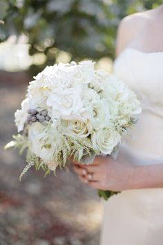 white + silver bridal bouquet ~ www.adornmentsflowers.com