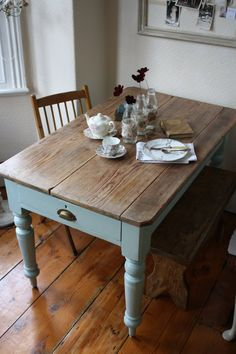 Vintage Pine Scrub-top Table with Turned Legs and by ArthurandEde