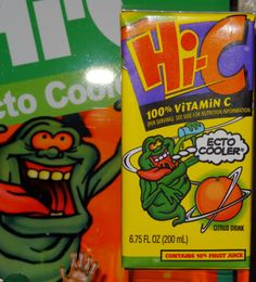 This is the second box design for Ecto Cooler with a different box still featuring slimer. This is an original unopened box in MINT condition from 1997! Slimer eventually disappeared from the box in late 1997. (NOT FOR SALE)