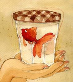made by: Anne Soline , illustration (goldfish in a jar)