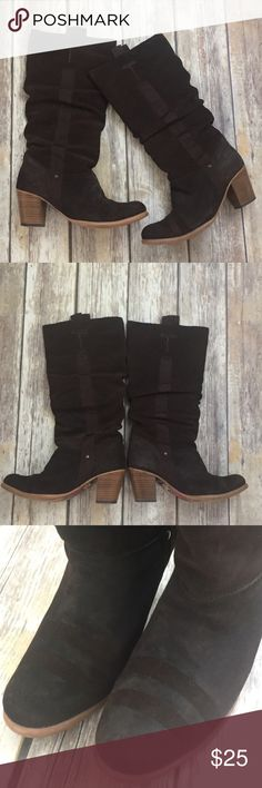 Anthropologie Leather Sueded Chunky Heeled Boots Brown sueded leather boots by Fly London from Anthropologie. These are a size 7.5 and fit true to size. They have minor wear, mostly on soles as pictured. Overall very good condition. ⚓No trades or holds. I negotiate only through the offer button. Any measurements listed are approximate since I am not a seamstress. 🚭🐩HB Anthropologie Shoes Heeled Boots