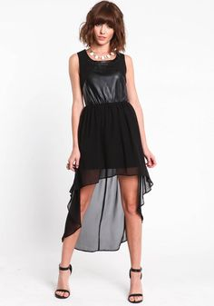 Leather and Chiffon Hi Lo Dress, BLACK