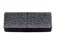 Leu Locati satin clutch with Swarovski crystals