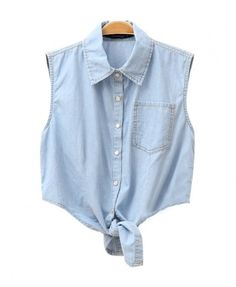 Sleeveless Washed Denim Blouse with Self-tie to Front - Denim Blouses - Denim