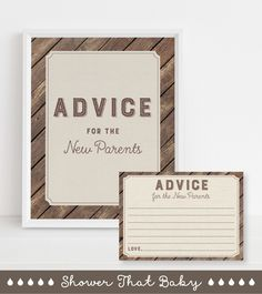 """Let your guests leave their advice for the new parents with this rustic wood and burlap baby shower advice cards and sign. A wording option for """"mommy to be"""" AND """"new parents"""" are included. Word Of Advice, Advice Cards, Baby Shower Advice, Shower Ideas, Rustic Baby, Rustic Wood, New Parents, New Moms, Burlap Baby Showers"""