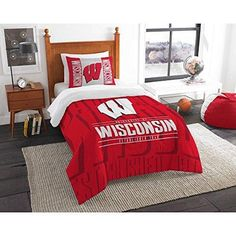 Ncaa Badgers Comforter Twin Set Red Grey Sports Patterned College