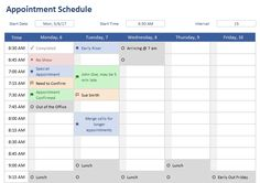 Appointment Schedule Excel Template