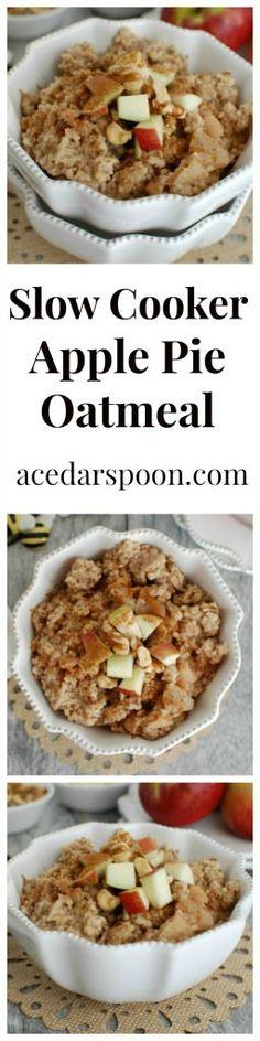Slow Cooker Apple Steel Cut Oatmeal is an easy breakfast that cooks in ...
