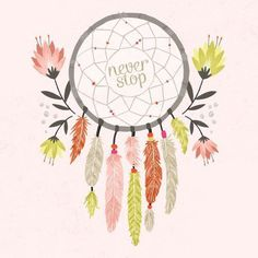 """Dream Catcher """"Never Stop"""" Dreamin Wall Decor Poster by Wheatpaste Free Shipping"""