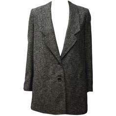 Ladies Betty Jackson Two Charcoal Grey City Tweed Eddie Blazer (€260) ❤ liked on Polyvore featuring outerwear, jackets, blazers, coats, wool tweed blazer, tweed jacket, blazer jacket, charcoal grey blazer and charcoal grey ja