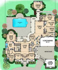 House Plan – European Plan: Square Feet, 7 Bedrooms, 9 Bathrooms beautiful mansion with everything you could possibly need, minus a beautiful library or music room House Plans Mansion, Sims House Plans, House Floor Plans, 4000 Sq Ft House Plans, Castle House Plans, Large House Plans, Large Floor Plans, Unique House Plans, Unique Floor Plans