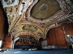 The abandoned Michigan Theater, in Detroit, which has been converted into a parking structure. Abandoned Castles, Abandoned Buildings, Abandoned Places, Haunted Places, Detroit Ruins, Abandoned Detroit, Detroit Usa, Abandoned Warehouse, Haunted Pictures