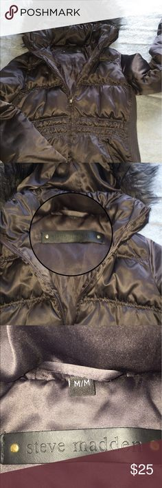 Steel gray puffer coat by Steve Madden Like new* detachable hoodie made with faux fur Steve Madden Jackets & Coats Puffers