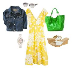 Yellow dress. Denim jacket.