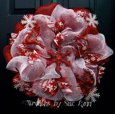 Deco mesh , red and white snowflakes with deer wreath.