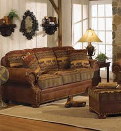 High Country Rustic Furniture Collection (Leather frame. Cloth Cushions.