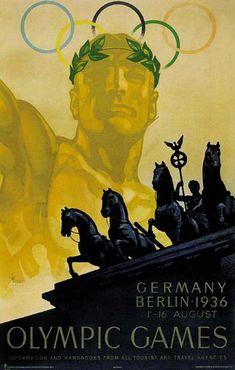 Olympiques Berlin by Wurbel 1936 Germany - Vintage Poster Reproduction. This vertical German exhibition poster features a gold statue of an Olympian with the rings behind him and blue horses in front of him. 1936 Olympics, Berlin Olympics, Summer Olympics, Sports Day Poster, Nazi Propaganda, Retro Poster, Kunst Poster, Blue Horse, Art Curriculum