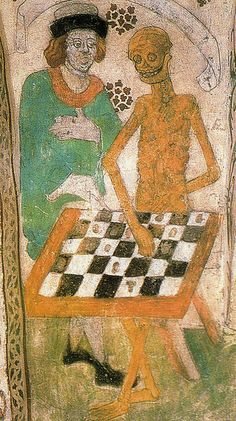 This painting in a church in Täby, Sweden, by Albertus Pinktor around 1480, inspired Ingmar Bergman, where the knight, Antonius Block, plays chess with Death.