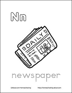Letter N Coloring Book - Free Printable Pages: Newspaper Coloring Page