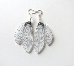 Caddisfly wing dangle earrings