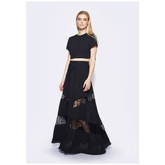 Fame&Partners Two Piece Long Black Juli Two Piece Dress (1.945 HRK) ❤ liked on Polyvore featuring dresses, gowns, black, two piecelongmesh, formal dresses, 2 piece prom dresses, floral bridesmaid dresses, long formal dresses and formal evening gowns