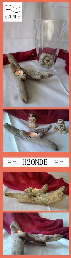 Home Décor Candle holder Candlestick unique wedding gift rustic beach decor centerpiece  driftwood best table decor tea light wood log decor anniversary coffee table made in italy porta candela centrotavola matrimonio legno h2onde christmas xmas for her minimal modern shabby