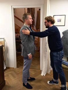 Fitting of a birdseye sportcoat in a wool/cashmere H&S fabric. Cashmere, Wool, Couple Photos, Couples, Fabric, Fictional Characters, Couple Shots, Tejido, Cashmere Wool