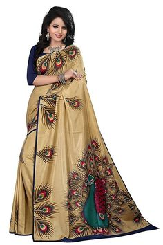 d45cc314f8f3b5 Golden Colored Printed Art Silk Saree With Blouse
